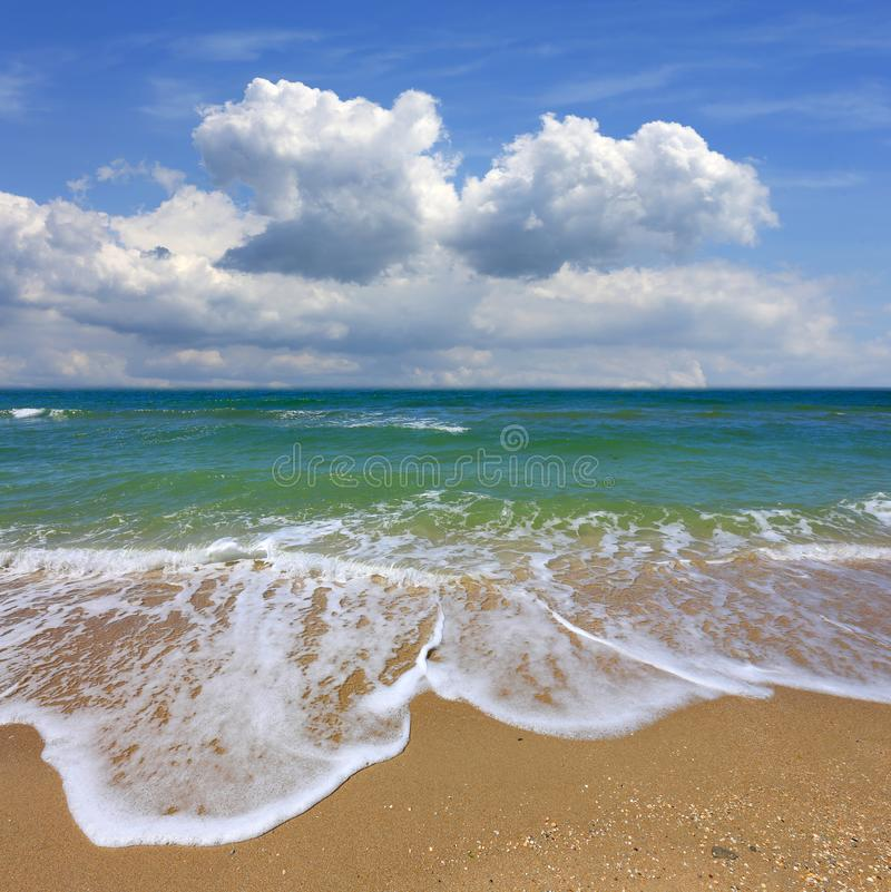 Summer on sea. Summer landscape with nice clouds over sea stock photography
