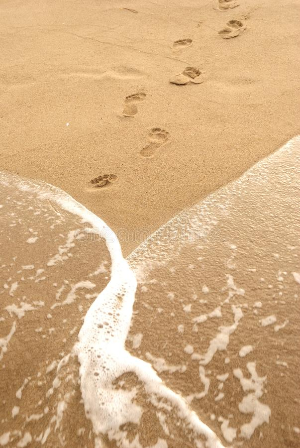 Summer sea, footstep and foam on sand, vertical background royalty free stock image