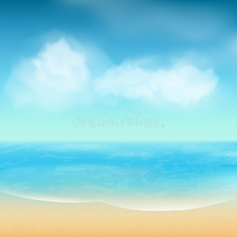 Sand Beach In Summer Sky Background: Summer Sea And Sand Background Stock Vector