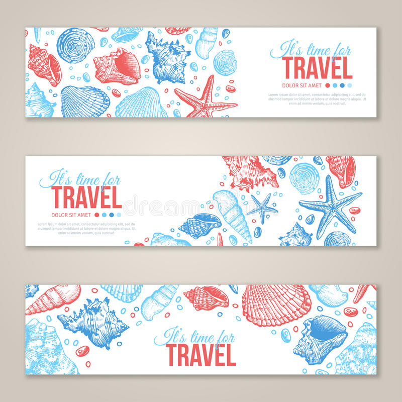Summer Sea Shells Horizontal Banner Design. Vector Background with Seashells, Seastar and Sand. Hand Drawn Etching Style. Place for Your Text. Travel Template vector illustration