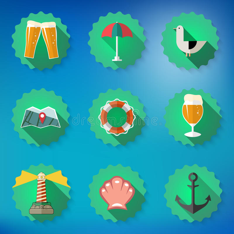 Summer Sea Travel Weekend Trip Flat icon set stock illustration