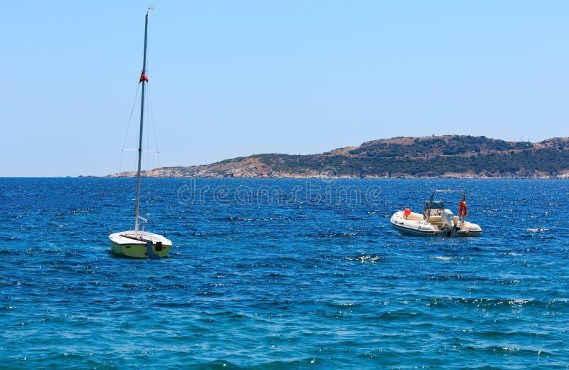 Summer sea coast Halkidiki, Greece. Summer sea view from coast Valti, Sithonia, Halkidiki, Greece royalty free stock image