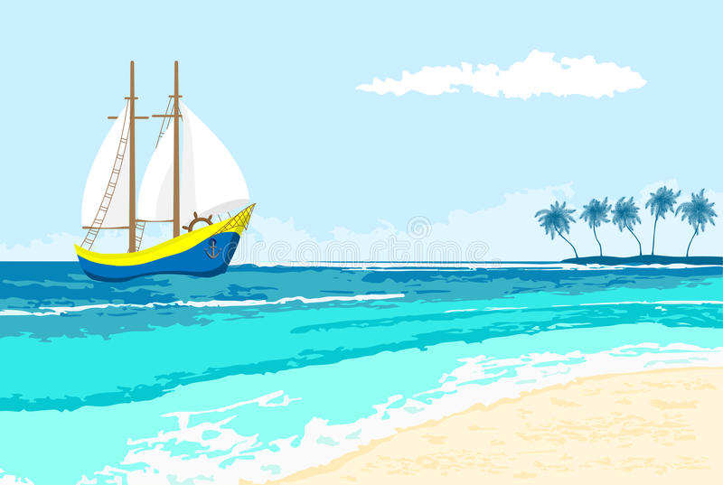 Summer sea view with sailboat and palms royalty free stock photos