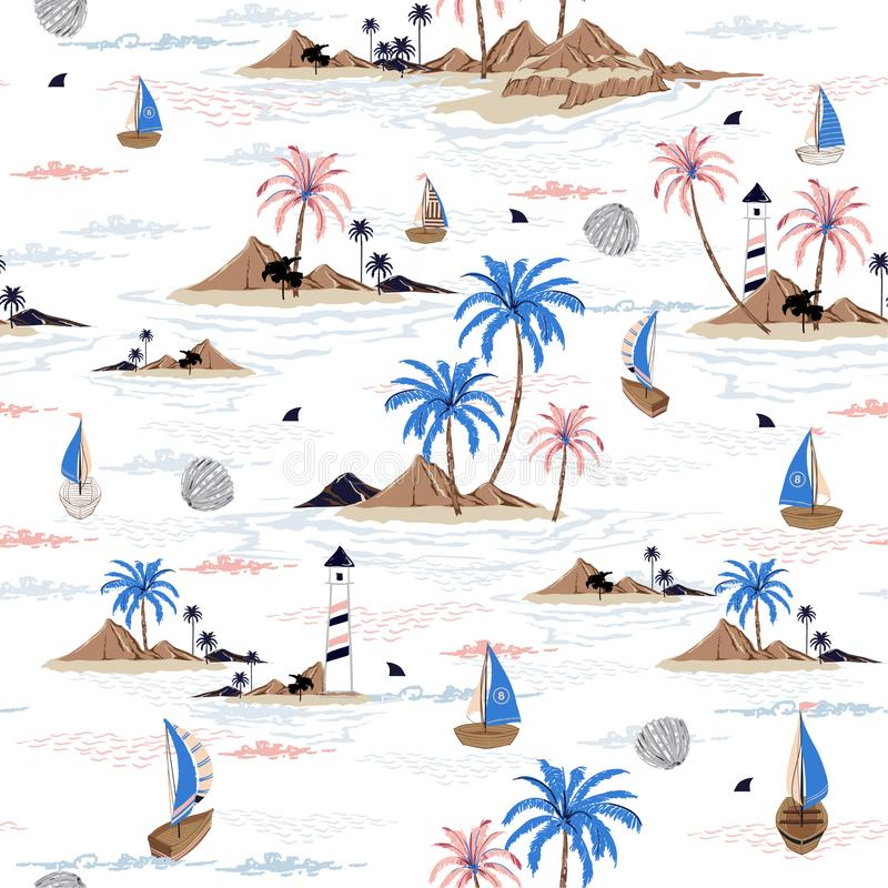 Summer seamless island pattern on white background. Landscape with palm trees,beach and ocean vector hand drawn style. Design for fashion,fabric,wallpaper,web royalty free illustration