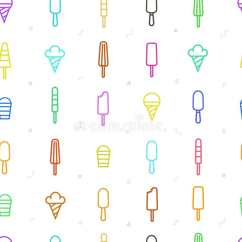 Summer seamless pattern with colored ice cream in linear style. Abstract sweet background. stock image
