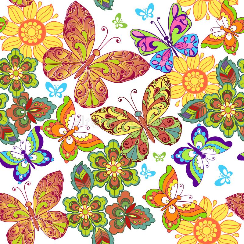 Summer Seamless pattern with colorful butterflies. Decorative ornament backdrop for fabric, textile, wrapping paper.  royalty free illustration