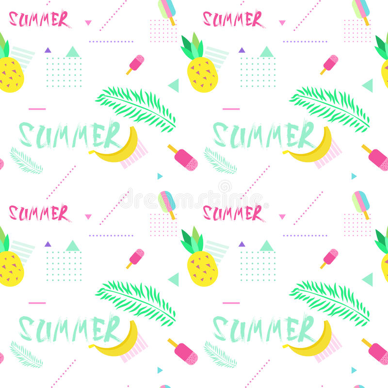 Summer Seamless Pattern With Colorful Tropical Ornament Background Style vector illustration