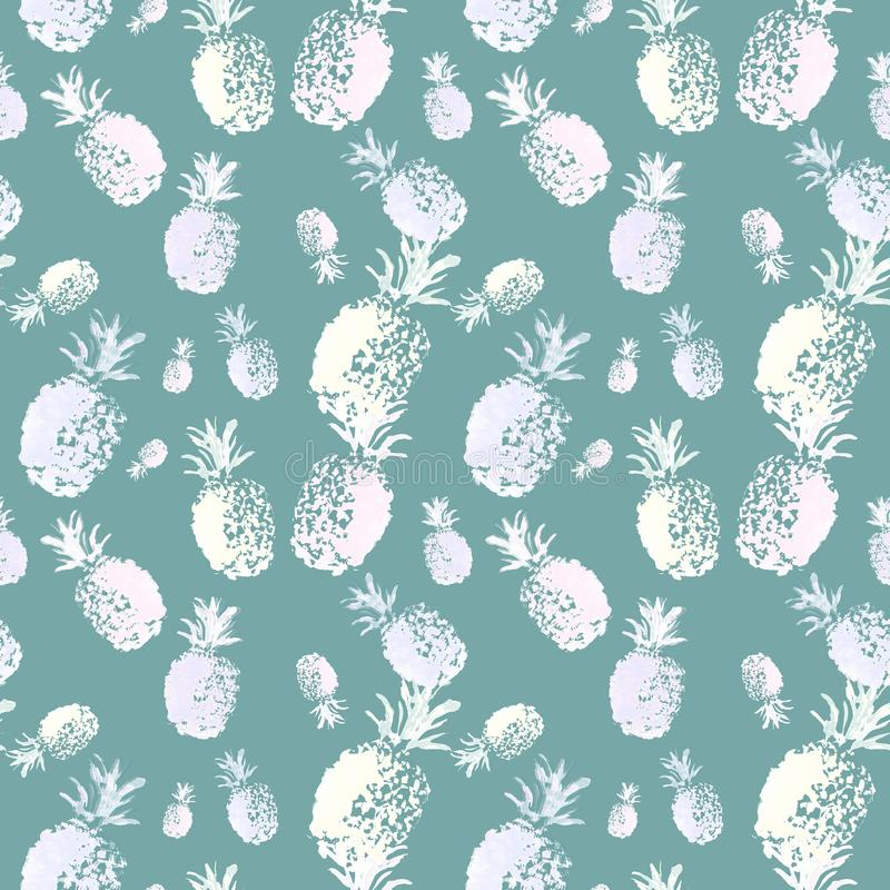 Summer seamless pattern with exotic fruits on teal green background. Trendy botanical print with hand drawn watercolor pineapple vector illustration
