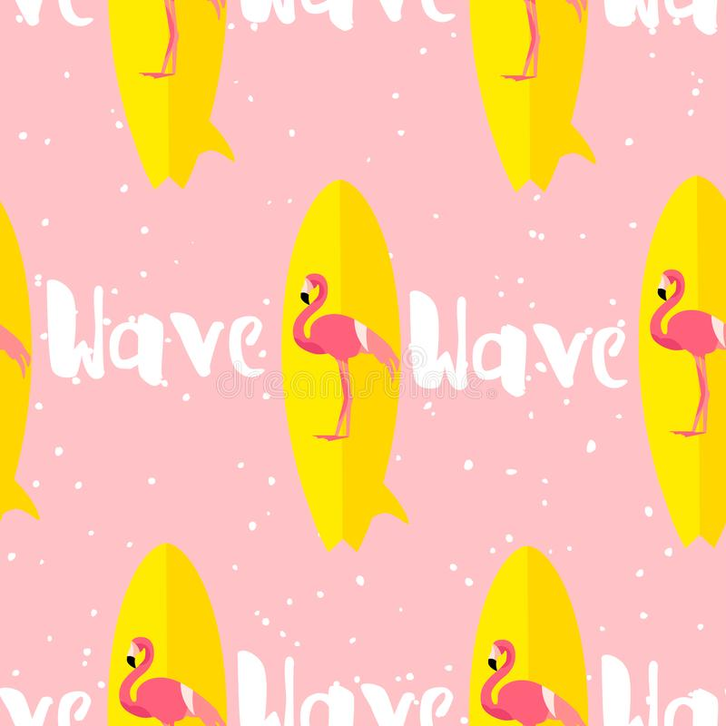 Summer seamless pattern with flamingo, surfboard and text on pink background. Flat design. Vector card vector illustration