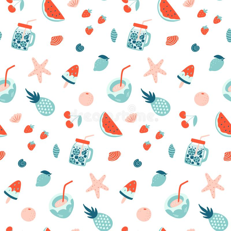 Summer seamless pattern. Fruits and cocktails. Vacation mood. Vector wallpaper stock illustration