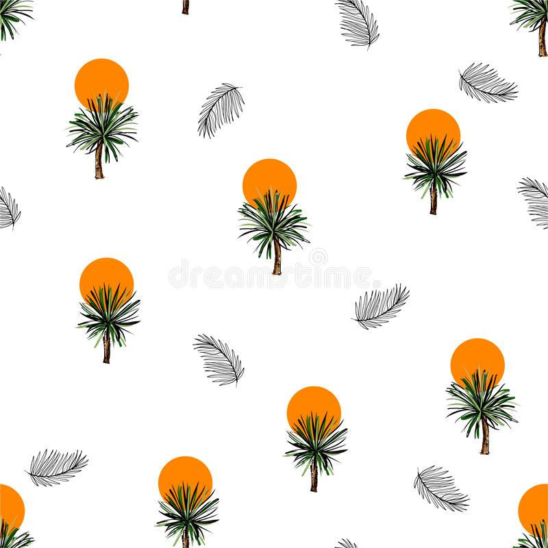 Summer seamless pattern with hand drawn palm trees ,leaves and sunset Summertime design. In for fashion, fabric,wallpaper,wrapping, web and all prints on white royalty free illustration