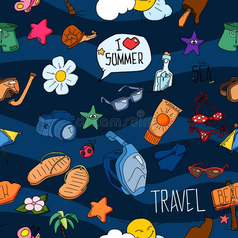 Summer seamless pattern. Hand drawn vector summer symbols and objects. Travel colorful tropical holiday design. Summer vacation co royalty free illustration
