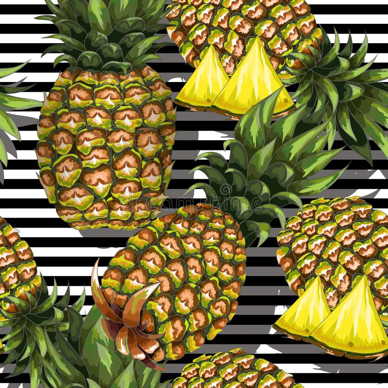 Summer seamless pattern with handdrawn pineapple on striped background. Vector illustration. royalty free illustration