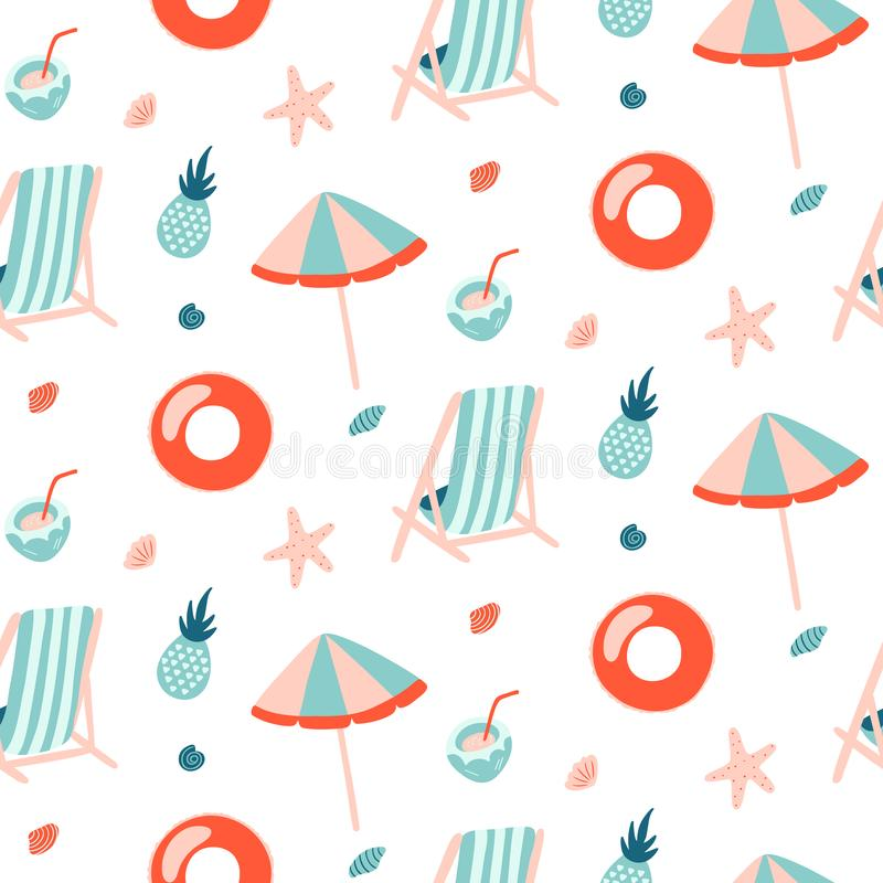 Summer seamless pattern with Inflatable ring, Umbrella and Chair. vector illustration