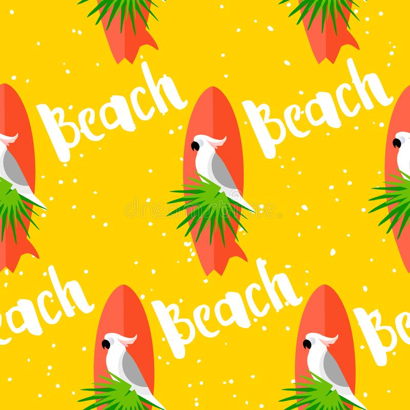 Summer seamless pattern with parrot, surfboard, palm leaves and text on yellow background. Flat design. stock illustration