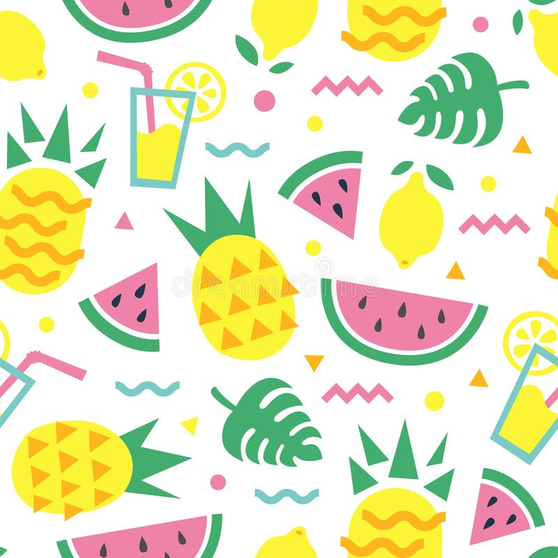 Summer seamless pattern with pineapple, watermelon slice, lemon, cocktail and monstera leaves. vector illustration