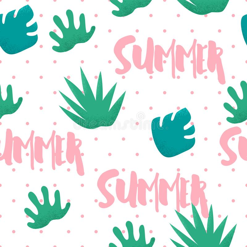 Summer seamless pattern in polka dot with tropical plants and text on white background. Ornament for textile and wrapping. Vector stock illustration