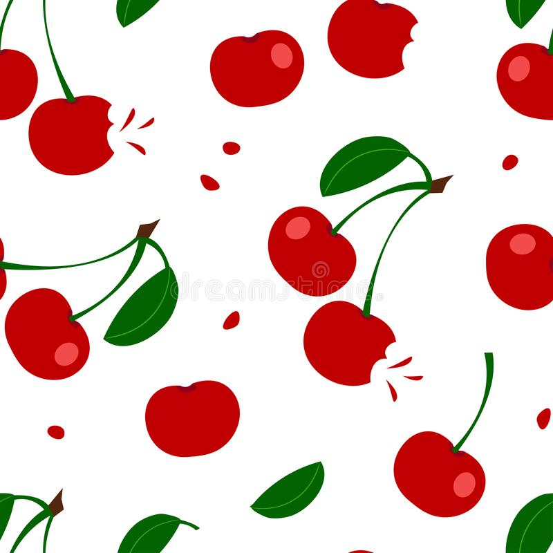 Summer seamless pattern with red cherry and leaves. Vector illustration. Summer seamless pattern with red cherry and leaves isolated on white background. Vector vector illustration