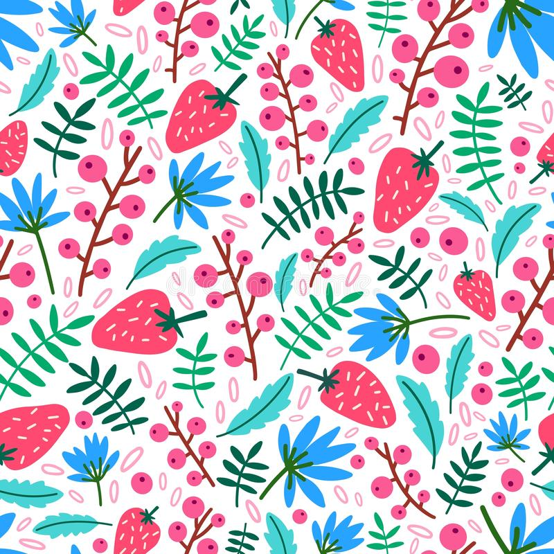 Summer seamless pattern with strawberries, flowers and leaves on white background. Natural backdrop with ripe wild. Berries. Decorative vector illustration for vector illustration