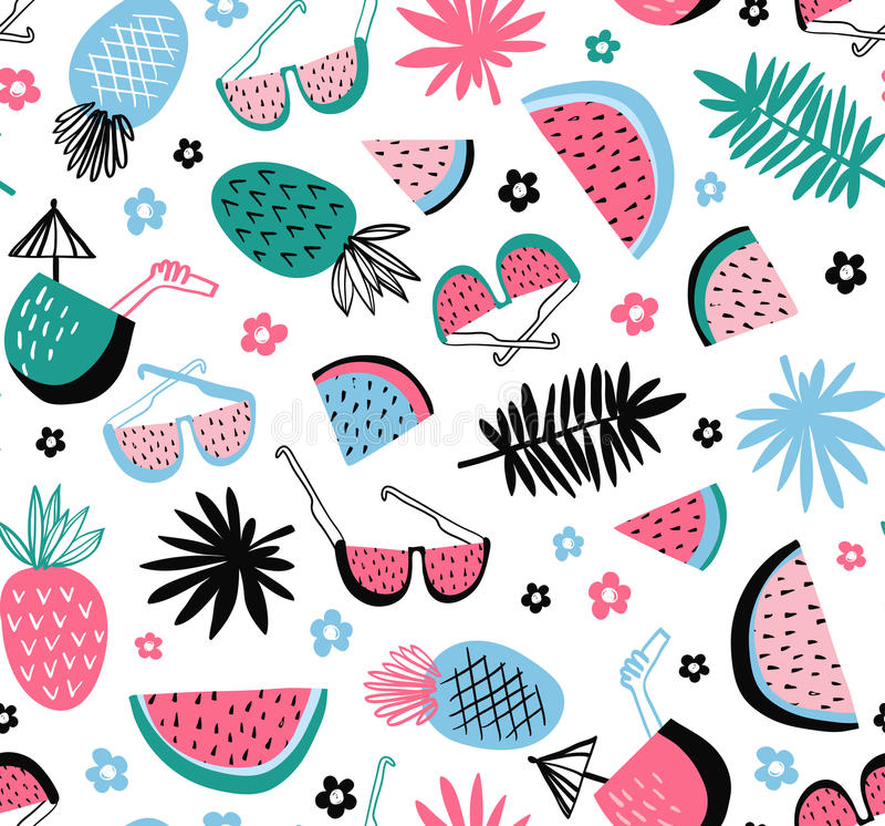 Summer seamless pattern. Vector tropical background with exotic fruit and leaves. stock illustration