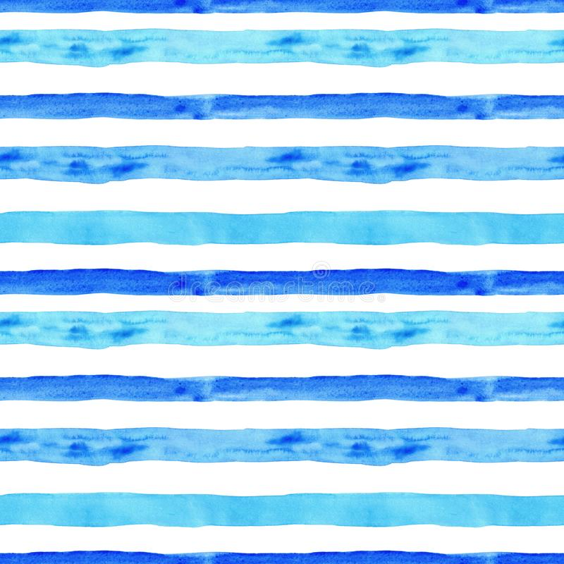 Summer seamless pattern with watercolor blue horizontal stripes on white background. hand drawn texture with vacation vibes. Watercolor blue and turquoise stripe royalty free illustration