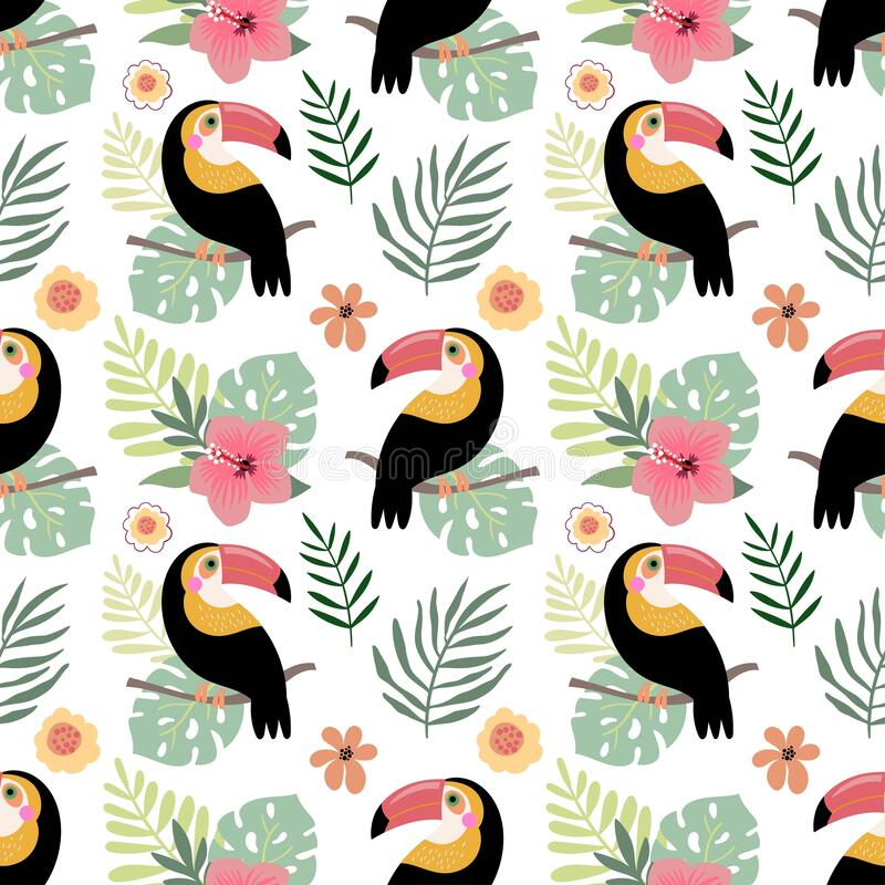 Free Summer Seamless Pattern With Toucans And Hibiscus, Tropical Design Royalty Free Stock Image - 217899396