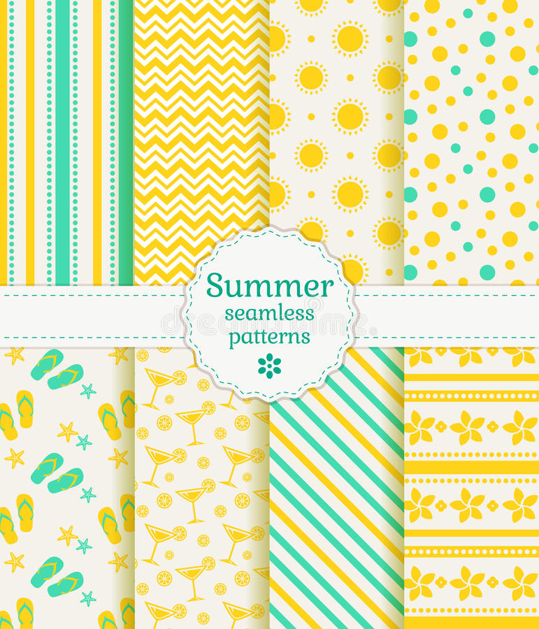 Summer seamless patterns. Vector collection. stock illustration