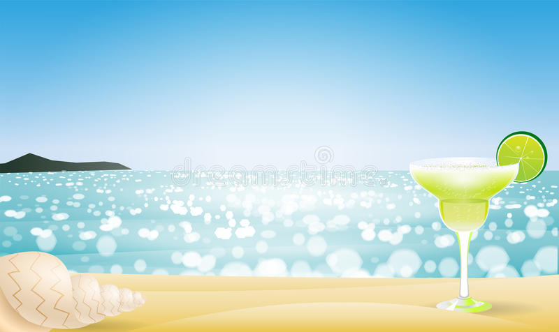 Summer seascape blur bokeh. With margaritas and a sea shell. Paradise island. Realistic vector illustration for web or application royalty free illustration