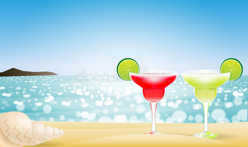 Summer seascape blur bokeh. With two margaritas and a sea shell. Paradise island. Realistic vector illustration for web or application stock illustration