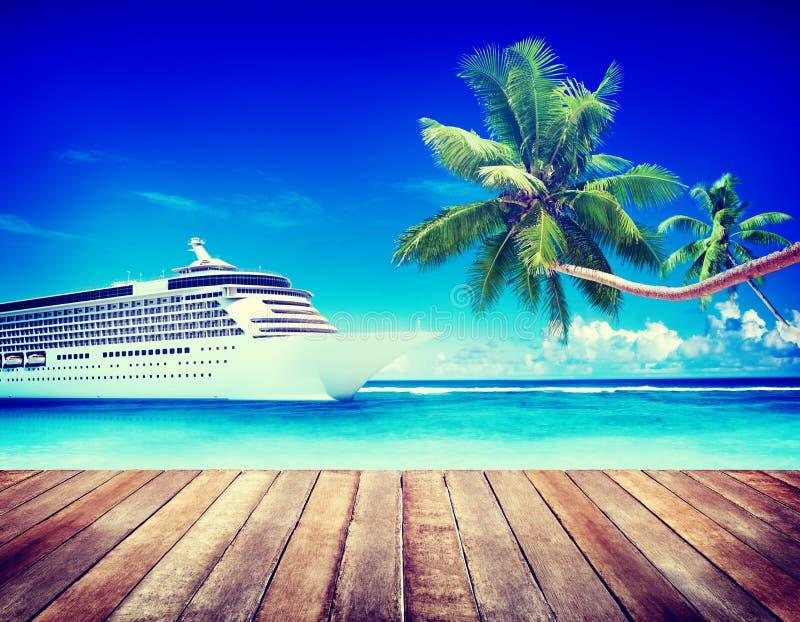 Summer Seascape Skylline Cruise Sea Route Destination Concept stock image