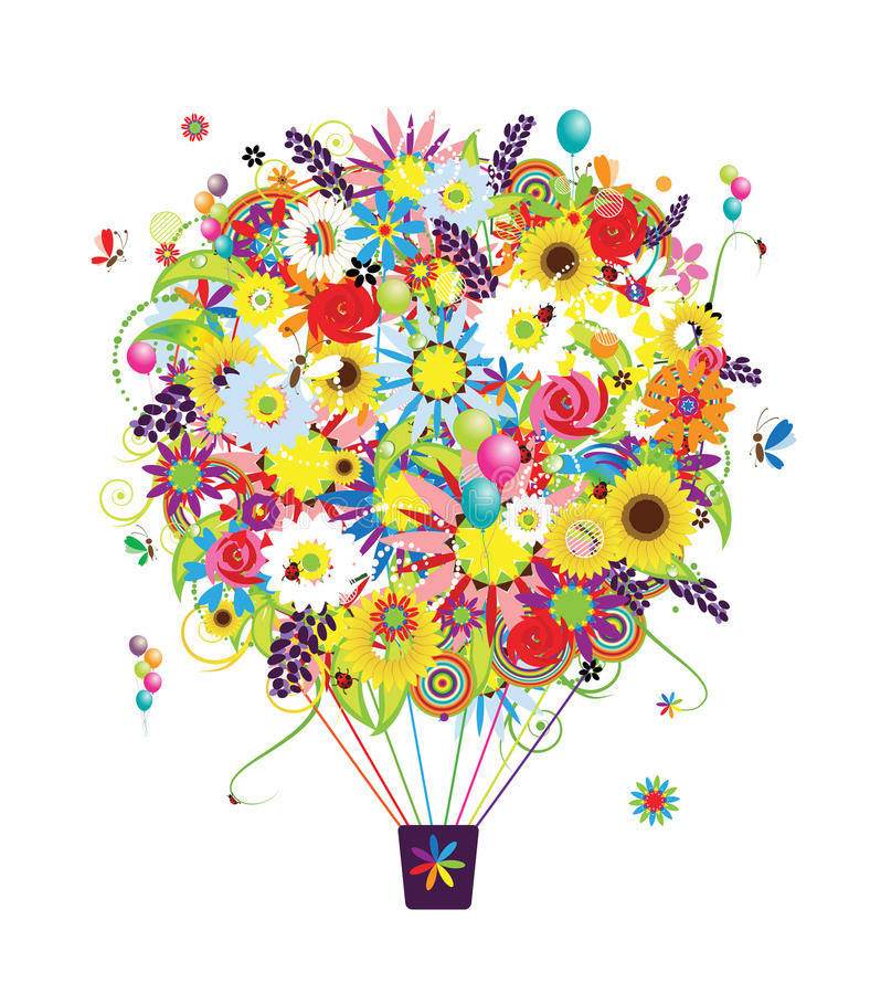 Download Summer Season Concept, Air Balloon With Flowers Stock Vector - Image: 28771085