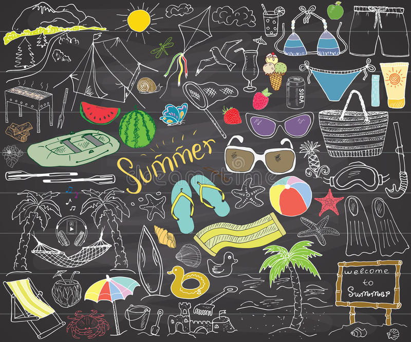 Summer season doodles elements. Hand drawn sketch set with sun, umbrella, sunglasses, palms and hammock, beach, camping items and royalty free illustration
