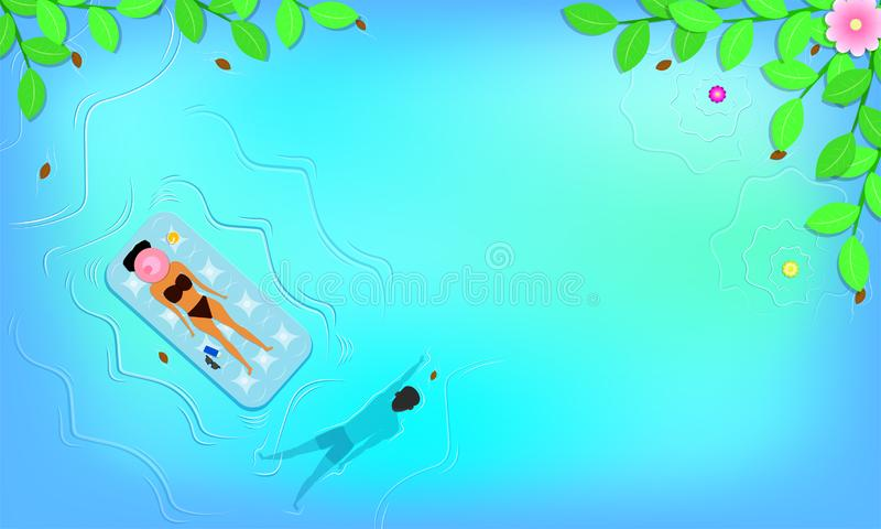 Summer season. top view around with leaf flowers beach and woman sleep on floating seat near lotion sunglass.man swimming in the vector illustration