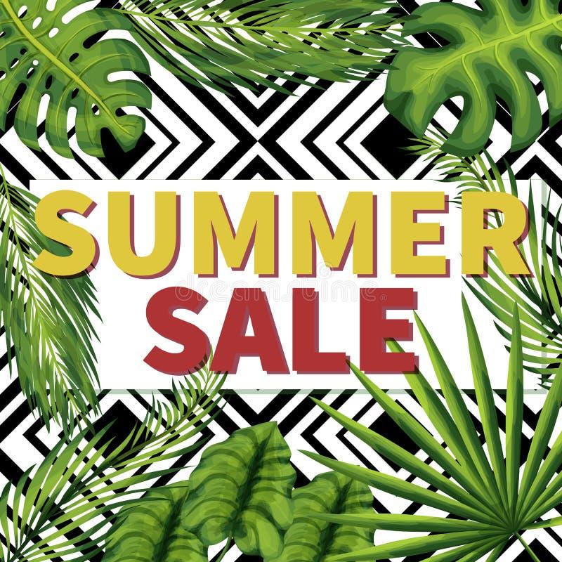 Summer seasonal sale social media post template stock illustration