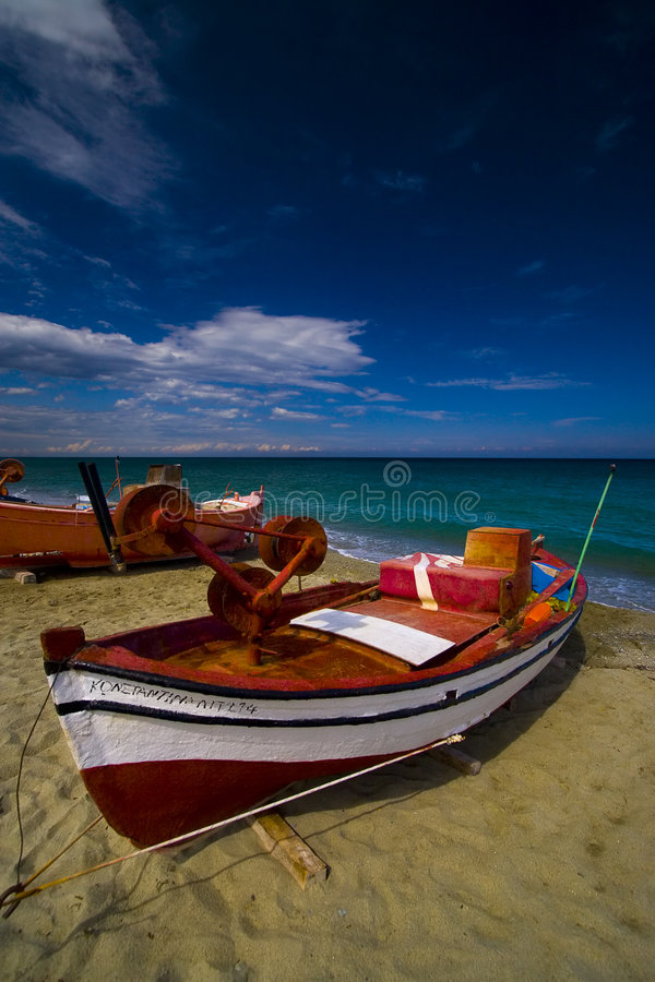 Summer seaview with a boat at Olympic Riviera, Greece stock photo