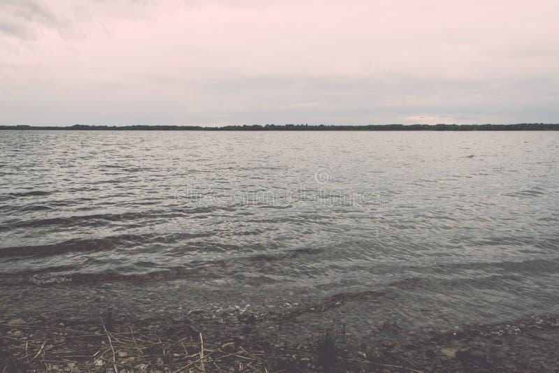 Summer See nahe dem Wald - Weinleseeffekt lizenzfreies stockfoto