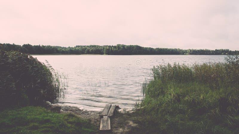 Summer See nahe dem Wald - Weinleseeffekt lizenzfreie stockbilder