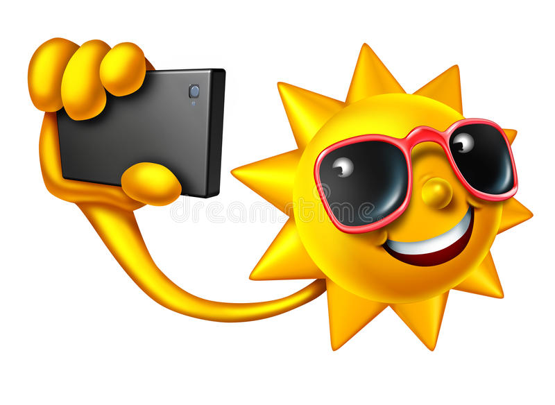 Summer Selfie. Social media concept as a happy sun character holding a smartphone taking a portrait photo to update friends on current personal lifestyle news royalty free illustration