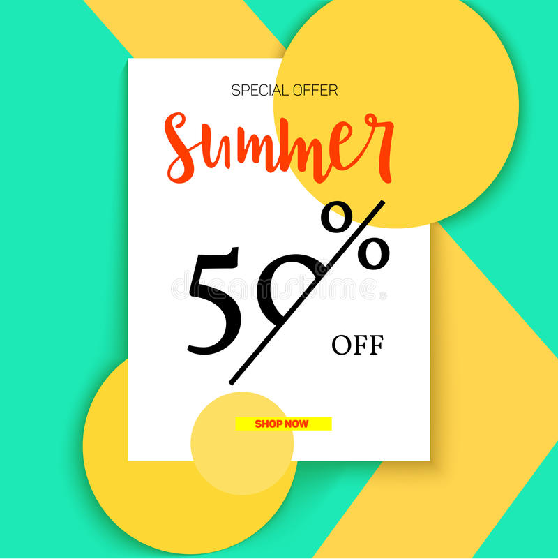 Summer selling ad banner, vintage text design. Summer fifty percent discount. Holiday discounts, sale background on a. Color graphic backdrop. Template for royalty free illustration