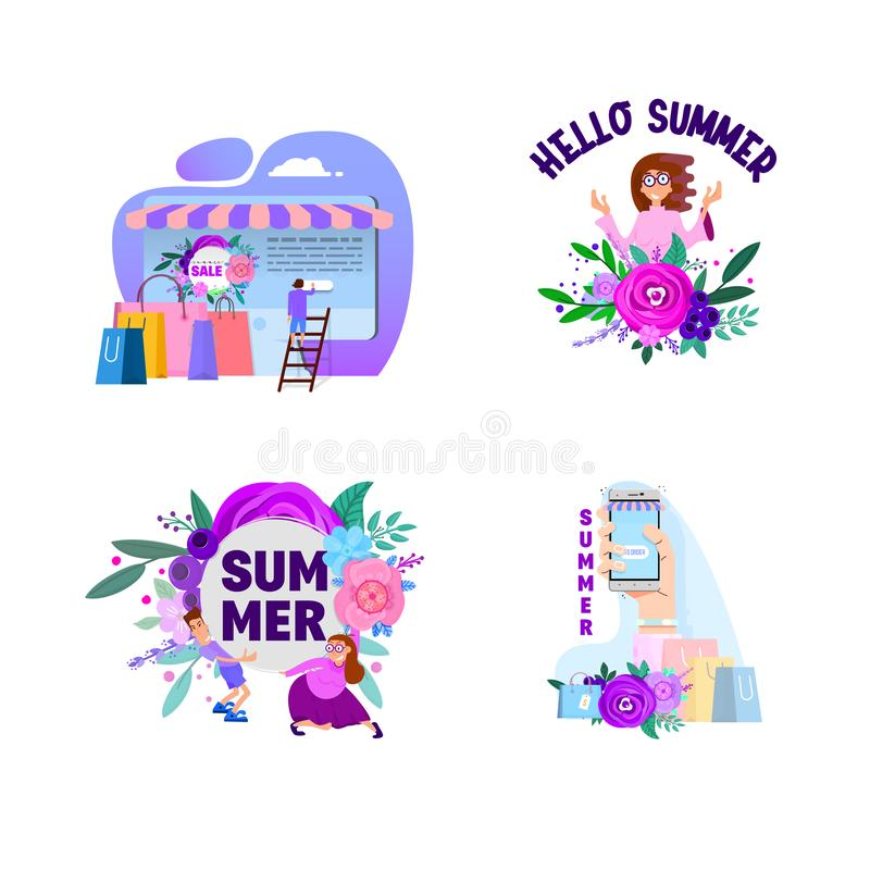 Summer set, banners and posters, with characters on sales and discounts royalty free illustration