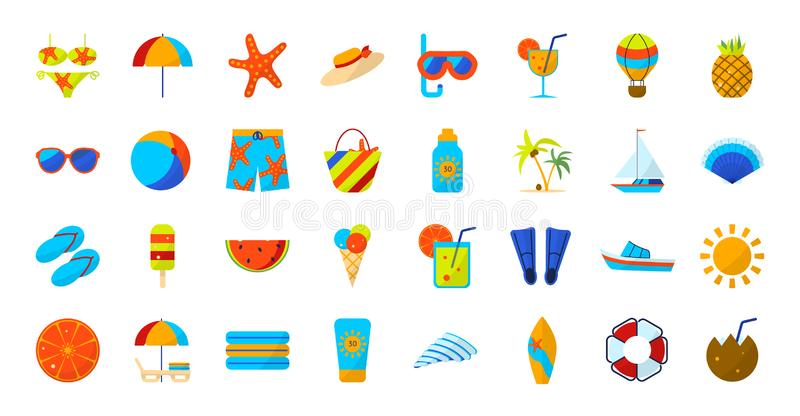 Flat color summer Holiday icon set. Sports and recreation. Beach accessories. Vector illustration stock illustration