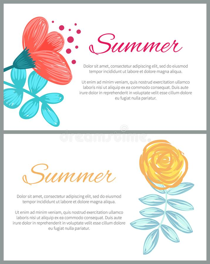 Summer Set of Colorful Posters Vector Illustration vector illustration