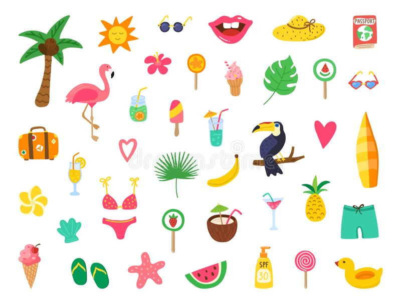 Summer set with hand drawn elements. Summer beach party design with doodle flamingo, flowers, tropical fruit, sweets. Color stock illustration