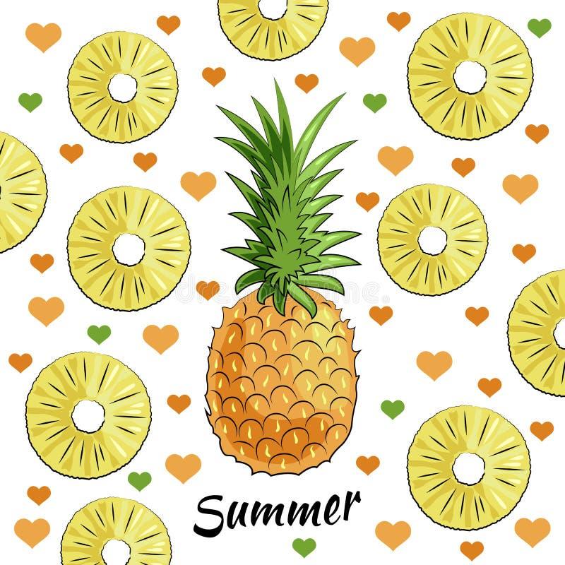 Summer set: pineapple, pineapple pieces, summer inscription, hearts vector illustration