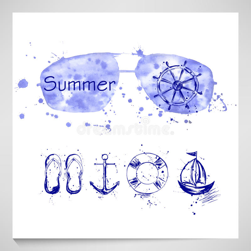 Summer Set with sunglasses, helm, anchor, ship, lifeline. stock images