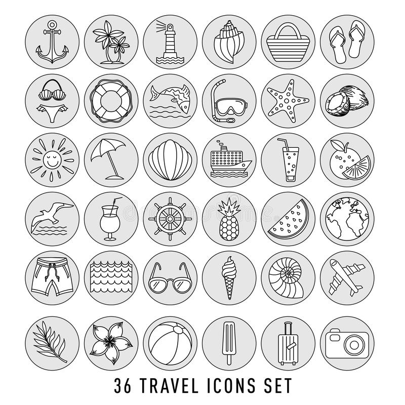 Summer Set of 36 travel icons, thin line style, vector illustration Outline Holiday. black sketch royalty free illustration