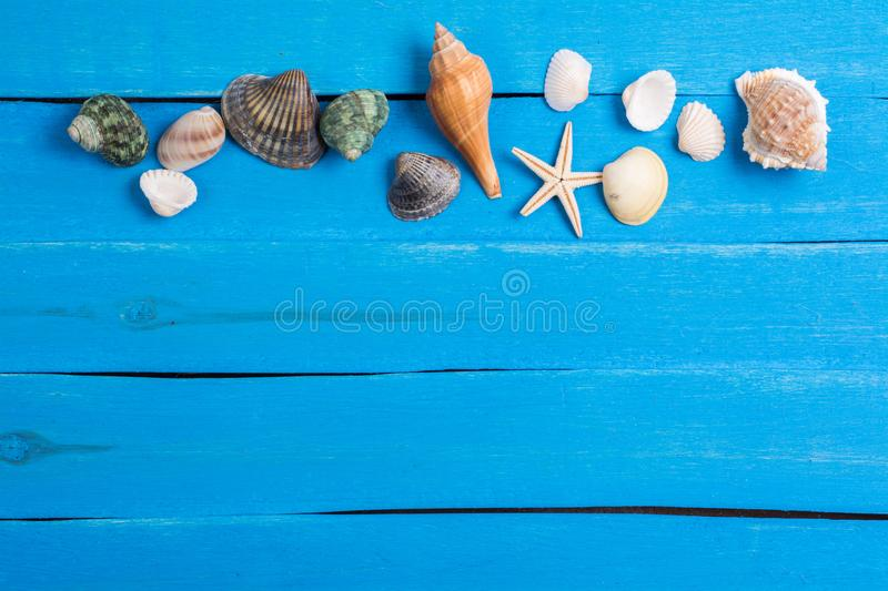 Summer setting background. Summer setting with sea shells on old blue wooden background stock photography