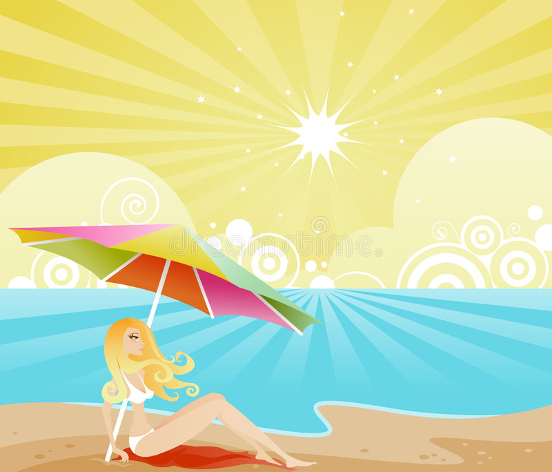 Summer Shade. Strawberry blonde woman sits on the beach, enjoying the shade beneath her big beach umbrella stock illustration