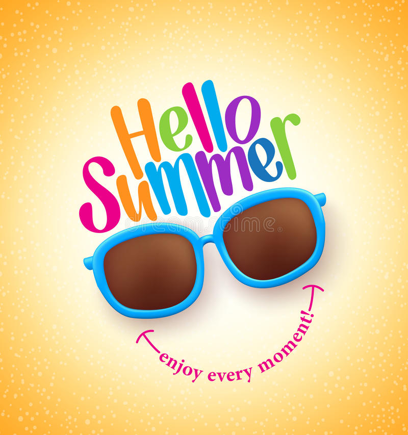 Summer Shades with Hello Summer Happy Colorful Concept royalty free illustration