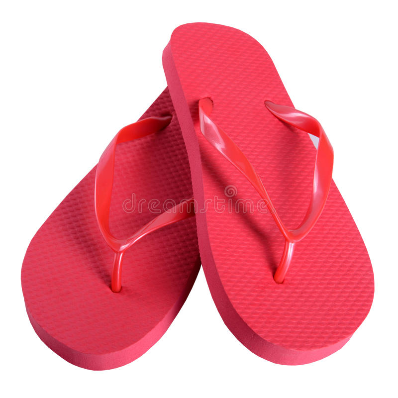 Summer shoes rubber flip flops red. Isolated on white background stock photography